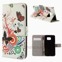 Housse etui coque portefeuille PU cuir pour Samsung G925F Galaxy S6 Edge + film ecran - PAPILLONS