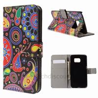 Housse etui coque portefeuille PU cuir pour Samsung G925F Galaxy S6 Edge + film ecran - PAISLEY