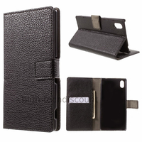 Housse etui coque pochette portefeuille PU cuir pour Sony Xperia M4 Aqua + film ecran - NOIR