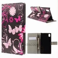 Housse etui coque pochette portefeuille PU cuir pour Sony Xperia M4 Aqua + film ecran - FLEURS N