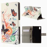 Housse etui coque pochette portefeuille PU cuir pour Sony Xperia M4 Aqua + film ecran - PAPILLONS