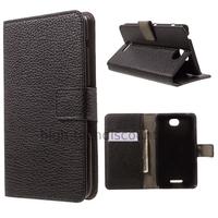Housse etui coque pochette portefeuille PU cuir pour Sony Xperia E4 Dual + film ecran - NOIR