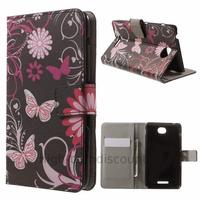 Housse etui coque pochette portefeuille PU cuir pour Sony Xperia E4 + film ecran - FLEURS N