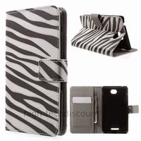 Housse etui coque pochette portefeuille PU cuir pour Sony Xperia E4 + film ecran - ZEBRE