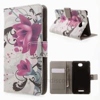 Housse etui coque pochette portefeuille PU cuir pour Sony Xperia E4 + film ecran - LOTUS