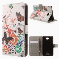 Housse etui coque pochette portefeuille PU cuir pour Sony Xperia E4 + film ecran - PAPILLONS