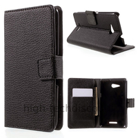 Housse etui coque pochette portefeuille PU cuir pour Sony Xperia E4g + film ecran - NOIR