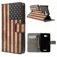 Housse etui coque pochette portefeuille PU cuir pour Sony Xperia E4g + film ecran - USA