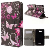 Housse etui coque pochette portefeuille PU cuir pour Sony Xperia E4g + film ecran - FLEURS N