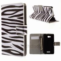 Housse etui coque pochette portefeuille PU cuir pour Sony Xperia E4g Dual + film ecran - ZEBRE