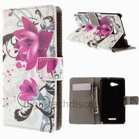 Housse etui coque pochette portefeuille PU cuir pour Sony Xperia E4g + film ecran - LOTUS