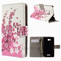 Housse etui coque pochette portefeuille PU cuir pour Sony Xperia E4g + film ecran - CERISIER