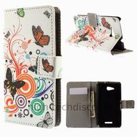 Housse etui coque pochette portefeuille PU cuir pour Sony Xperia E4g + film ecran - PAPILLONS