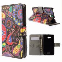 Housse etui coque pochette portefeuille PU cuir pour Sony Xperia E4g + film ecran - PAISLEY