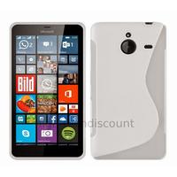 Housse etui coque pochette silicone gel fine pour Microsoft Lumia 640 XL LTE + film ecran - BLANC TRANSPARENT