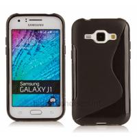 Housse etui coque pochette silicone gel fine pour Samsung Galaxy J1 + film ecran - NOIR