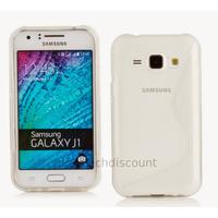 Housse etui coque pochette silicone gel fine pour Samsung Galaxy J1 + film ecran - BLANC