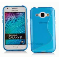 Housse etui coque pochette silicone gel fine pour Samsung Galaxy J1 + film ecran - BLEU
