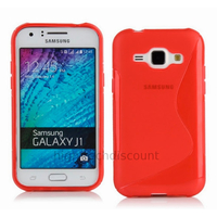 Housse etui coque pochette silicone gel fine pour Samsung Galaxy J1 + film ecran - ROUGE