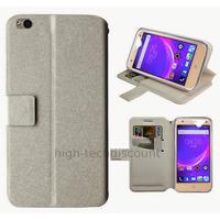 Housse etui coque pochette portefeuille pour ZTE Blade S6 + film ecran - BLANC
