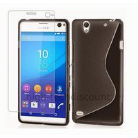 Housse etui coque pochette silicone gel fine pour Sony Xperia C4 + film ecran - NOIR