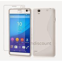 Housse etui coque pochette silicone gel fine pour Sony Xperia C4 + film ecran - BLANC
