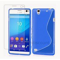 Housse etui coque pochette silicone gel fine pour Sony Xperia C4 + film ecran - BLEU