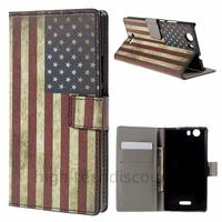 Housse etui coque pochette portefeuille PU cuir pour Wiko Ridge 4G + film ecran - USA