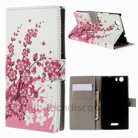 Housse etui coque pochette portefeuille PU cuir pour Wiko Ridge 4G + film ecran - CERISIER