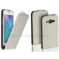 Housse etui coque pochette PU cuir fine pour Samsung Galaxy J1 + film ecran - BLANC