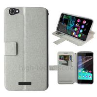 Housse etui coque pochette portefeuille pour Wiko Highway Pure 4G + film ecran - BLANC