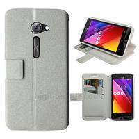 Housse etui coque pochette portefeuille pour Asus Zenfone 2 ZE500CL + film ecran - BLANC