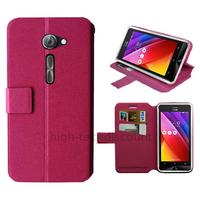 Housse etui coque pochette portefeuille pour Asus Zenfone 2 ZE500CL + film ecran - ROSE