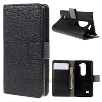 Housse etui coque pochette portefeuille PU cuir pour LG Leon 4G LTE + film ecran - NOIR