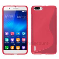 Housse etui coque pochette silicone gel fine pour Huawei Honor 6 Plus + film ecran - ROSE