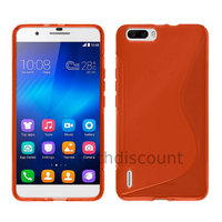 Housse etui coque pochette silicone gel fine pour Huawei Honor 6 Plus + film ecran - ROUGE