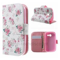 Housse etui coque portefeuille pour Samsung G110H Galaxy Pocket 2 + film ecran - ROSE FLEURS