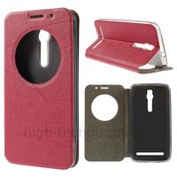Housse etui coque portefeuille view case pour Asus Zenfone 2 ZE551M ZE550ML + film ecran - ROUGE