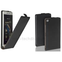 Housse etui coque pochette PU cuir fine pour Huawei Ascend P8 + film ecran - NOIR