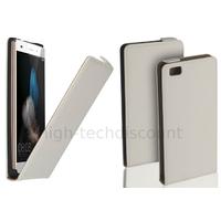 Housse etui coque pochette PU cuir fine pour Huawei Ascend P8 Lite + film ecran - BLANC
