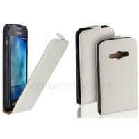 Housse etui coque pochette PU cuir fine pour Samsung G388F Galaxy Xcover 3 + film ecran - BLANC