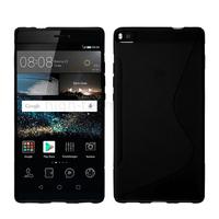 Housse etui coque pochette silicone gel fine pour Huawei Ascend P8 + film ecran - NOIR