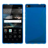 Housse etui coque pochette silicone gel fine pour Huawei Ascend P8 + film ecran - BLEU