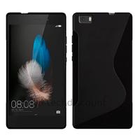 Housse etui coque pochette silicone gel fine pour Huawei Ascend P8 Lite + film ecran - NOIR