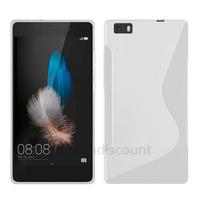 Housse etui coque pochette silicone gel fine pour Huawei Ascend P8 Lite + film ecran - BLANC TRANSPARENT