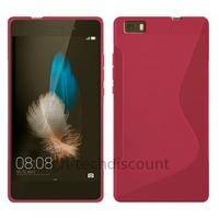 Housse etui coque pochette silicone gel fine pour Huawei Ascend P8 Lite + film ecran - ROSE