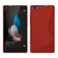 Housse etui coque pochette silicone gel fine pour Huawei Ascend P8 Lite + film ecran - ROUGE