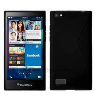 Housse etui coque pochette silicone gel fine pour Blackberry Leap + film ecran - NOIR