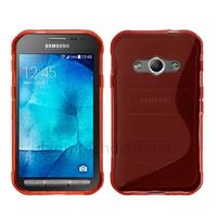 Housse etui coque pochette silicone gel fine pour Samsung G388F Galaxy Xcover 3 + film ecran - ROUGE