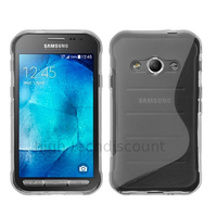 Housse etui coque pochette silicone gel fine pour Samsung G388F Galaxy Xcover 3 + film ecran - TRANSPARENT